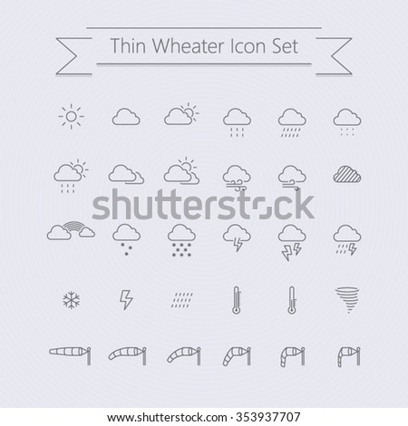 thin weather icon set - stock vector