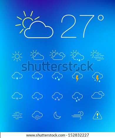 Thin weather icon set on blurry background - stock vector