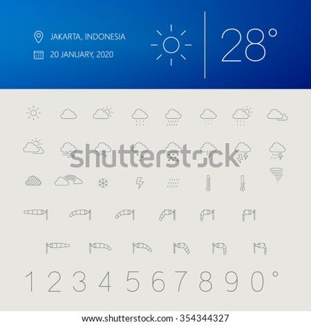 thin weather icon set widget user interface - stock vector