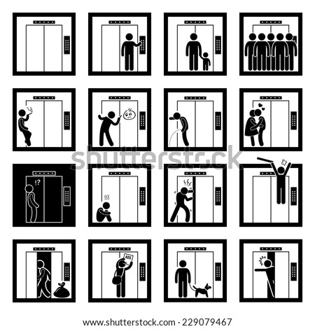 Things that People do inside Elevator Lift Stick Figure Pictogram Icons - stock vector