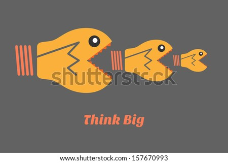 think big win - stock vector