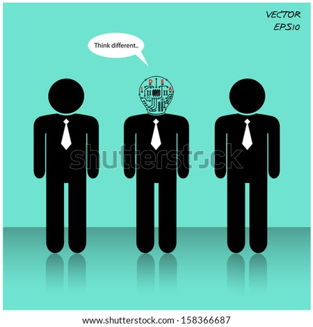 Think different, stand out from crowd,businessman sign.vector illustration - stock vector