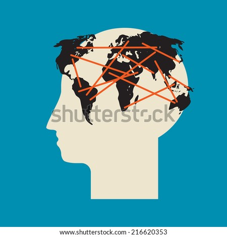 Think global  whole word inside the human brain - stock vector