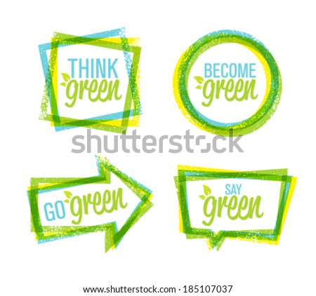 Think Green Creative Organic Eco Friendly Vector Design Elements Set - stock vector