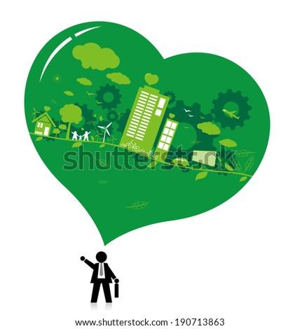 Think green design - stock vector