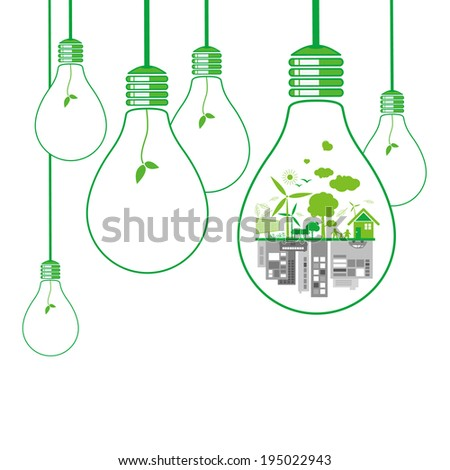 Think green design on white background - stock vector