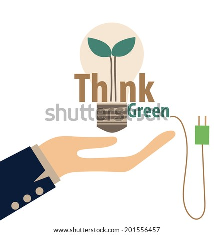 Think green, Eco concept. Light bulb with tree inside. Vector illustration. - stock vector