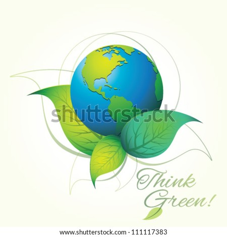 Think Green. Ecology Concept. Graphic Design Editable For Your Design. - stock vector