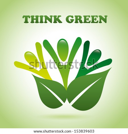 think green over green  background vector illustration  - stock vector