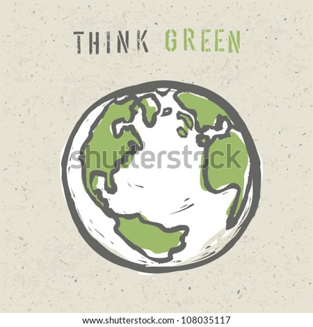 Think green poster design template. Vector, EPS10 - stock vector