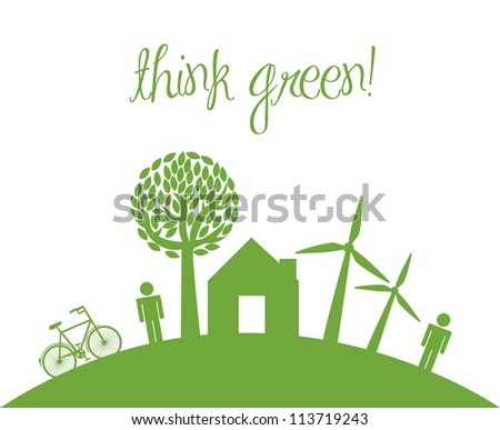 think green with icons of people and home. vector illustration - stock vector