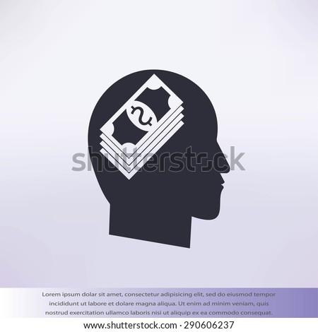 Think Money Icon - stock vector