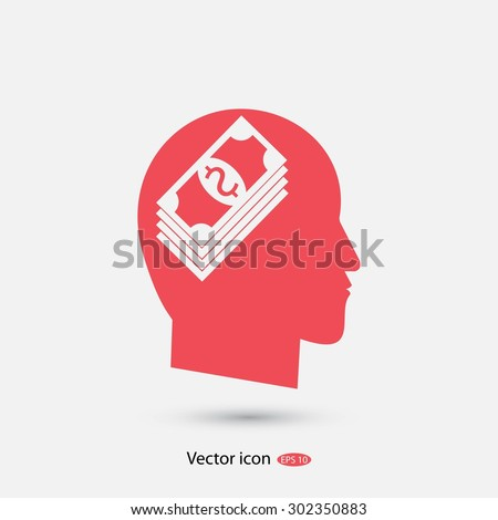 Think Money Icon - stock vector