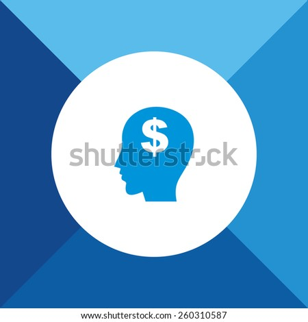 Think Money Icon on Blue Background. Eps-10. - stock vector