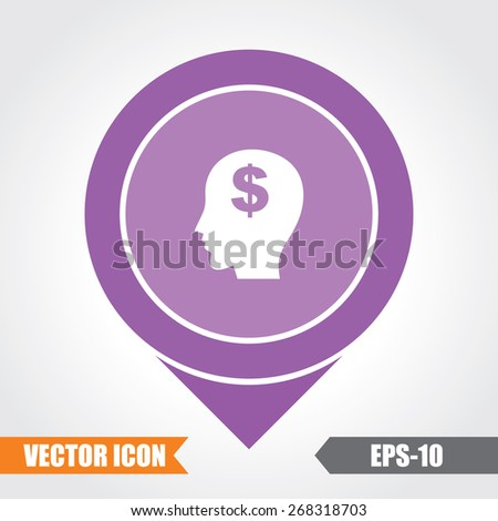 Think Money Icon On Map Pointer. Eps.-10. - stock vector