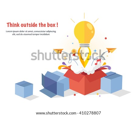 Think Outside The Box. Creative idea. Conceptual flat  illustrations - stock vector