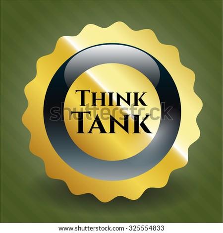 Think Tank gold badge - stock vector