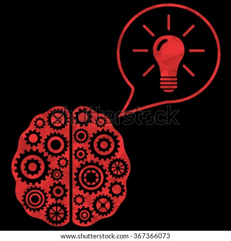 Thinking and solution concept. Brain of gears with idea bulb. Vector illustration. - stock vector