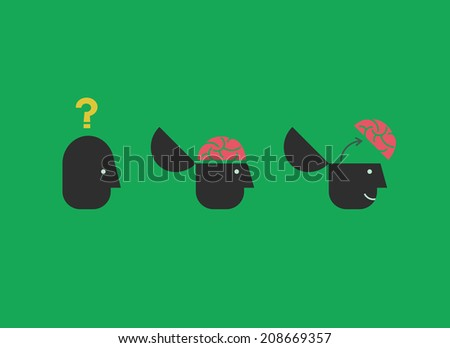 Thinking brain concept. - stock vector