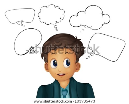 thinking bubbles with man on white - stock vector