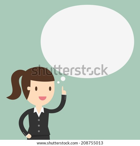Thinking, business woman with a empty speech bubble over her head - stock vector
