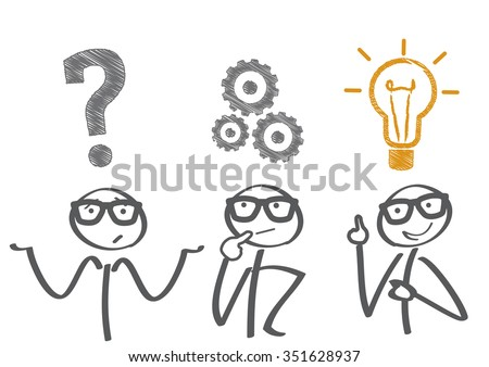 Thinking. Businessman solving a problem - stock vector