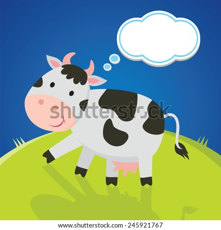 Thinking cow. Vector illustration of dairy cattle with thinking bubble. - stock vector