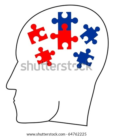 Thinking head doing a puzzle - stock vector