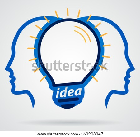 Thinking head lamp illuminating brain, unity of thought, new idea - stock vector