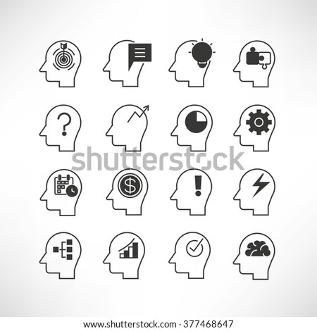 thinking icons - stock vector