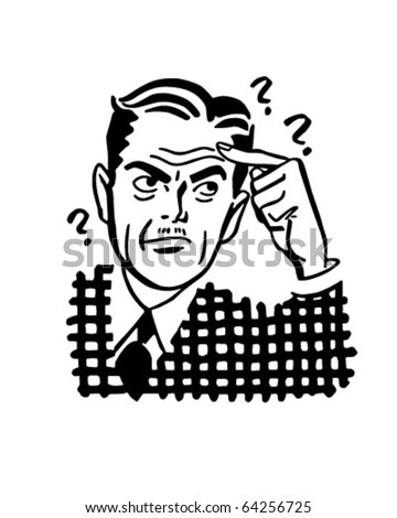 Thinking Man - Retro Clipart Illustration - stock vector