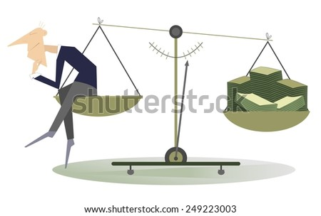Thinking man sitting on the scale and turns ideas into money - stock vector