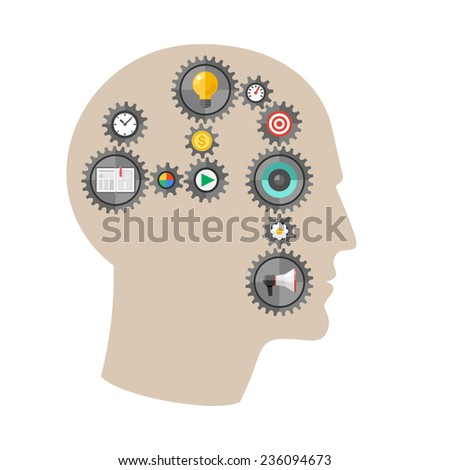 Thinking man with gears. Conceptual illustration of a human head with linked processes shown as gears. - stock vector