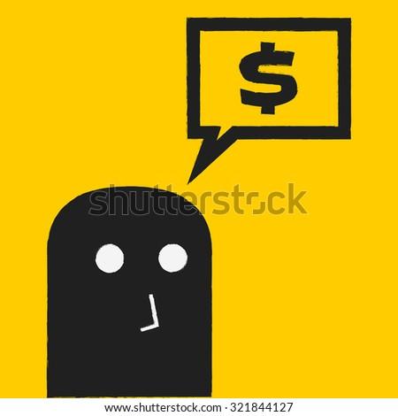 thinking money - stock vector