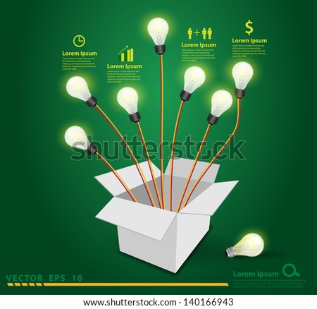 Thinking outside the box concept, Opened cardboard box with light bulb on green background, Vector illustration modern template design  - stock vector