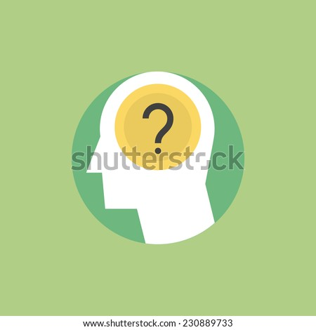 Thinking process, brainstorming and generates new ideas, question mark in the head. Flat icon modern design style vector illustration concept. - stock vector