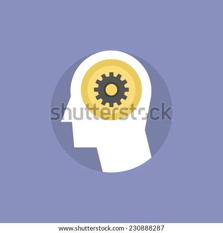Thinking process of human brain, brainstorming for creative innovative ideas, finding solution and solving problem. Flat icon modern design style vector illustration concept. - stock vector