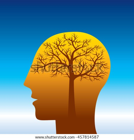 thinking save tree, creative concept - stock vector