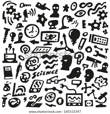 Thinking, Science - doodles set - stock vector