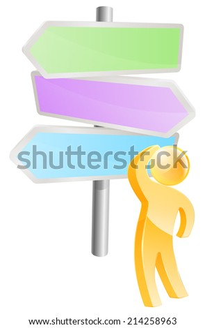 Thinking through options concept, a man looking at a direction sign and considering his options - stock vector