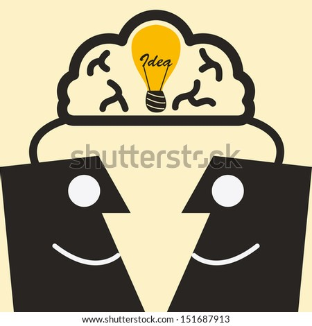 thinking together - stock vector