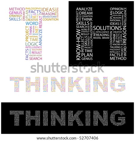 THINKING. Word collage. Vector illustration. - stock vector