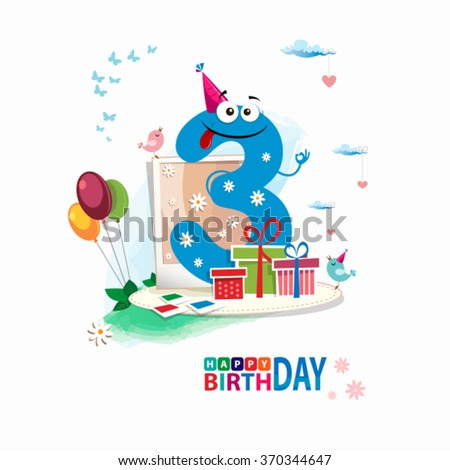 Third Birthday card. Happy third birthday card vector with gift box and balloons - stock vector