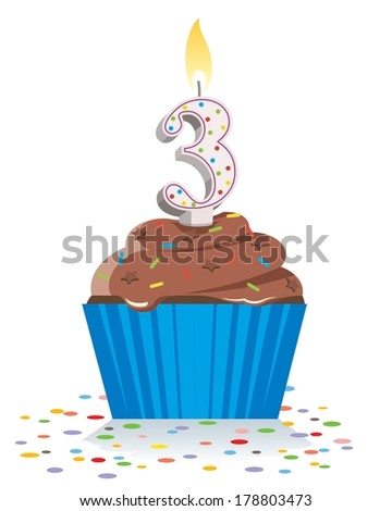 third birthday cupcake with lit candle in shape of number three  - stock vector