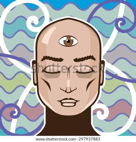 third eye stock vectors   vector clip art shutterstock Cartoon Winking Eye Lady Winking Eye Clip Art