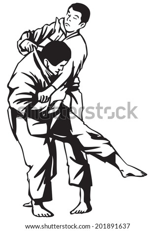 Third Judo fight stage two - stock vector