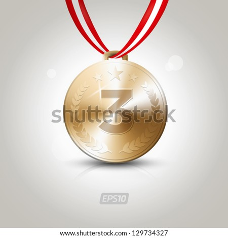 Third place medal - stock vector
