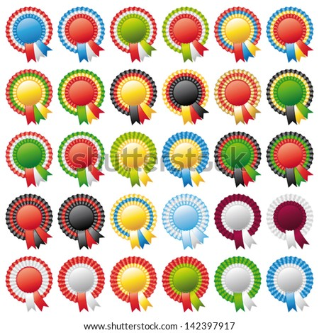 Thirty beautiful rosette ribbons. World flags. Vector set. - stock vector