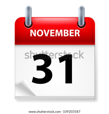 Thirty-first November in Calendar icon on white background - stock vector