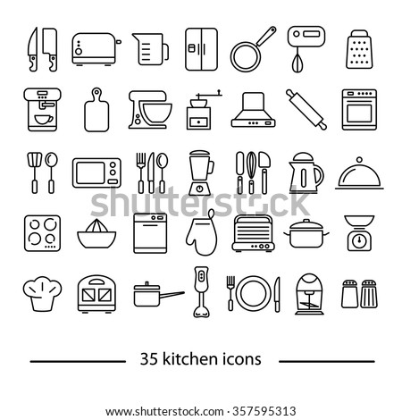 thirty five kitchen line icons - stock vector